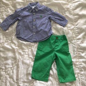 Ralph Lauren 2 piece dress shirt and pants size 6m